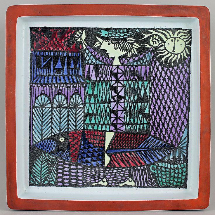 Stig Lindberg (Karneval 1958) Surrealistic Squared Dish