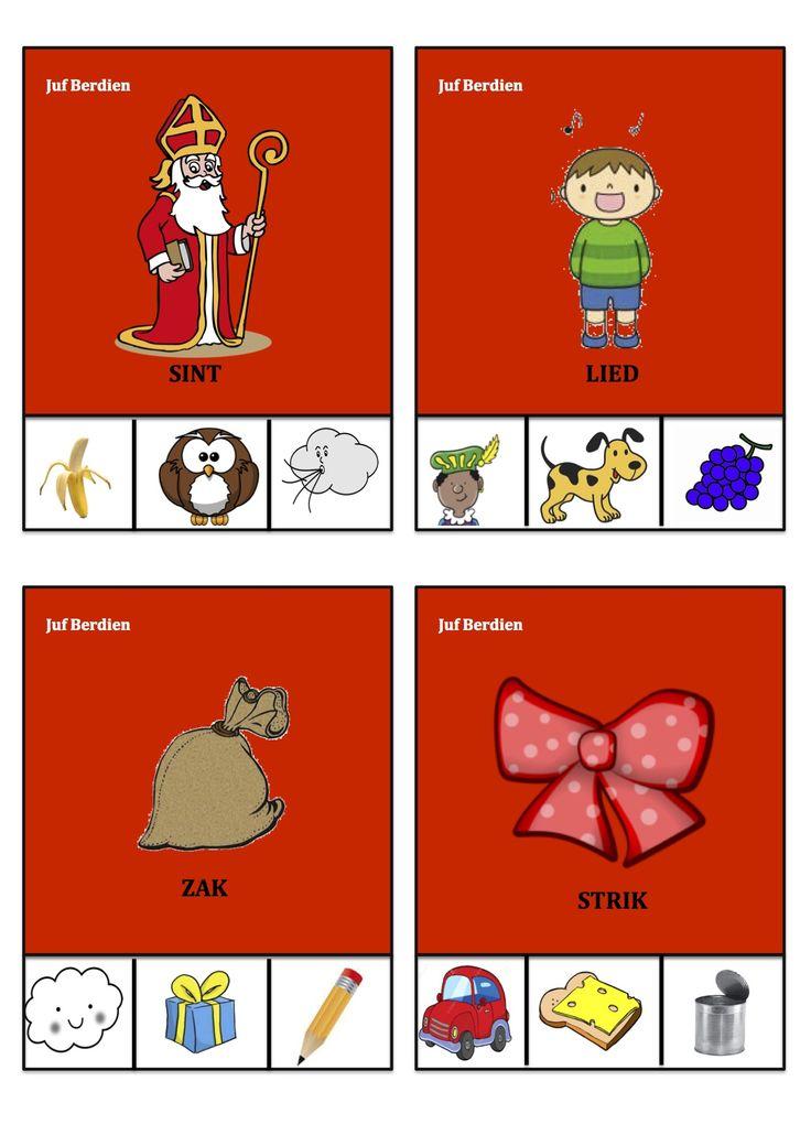 Juf Berdien Knijpkaarten Rijmkaarten 1 thema Sinterklaas Zwarte Piet kleuters klas