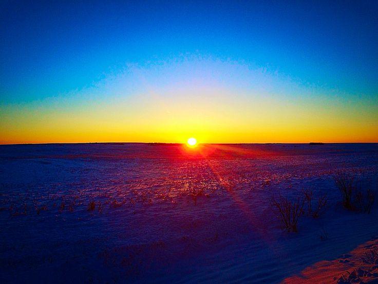 Winter Morning Sunrise on the prairies #sunrise #beautiful