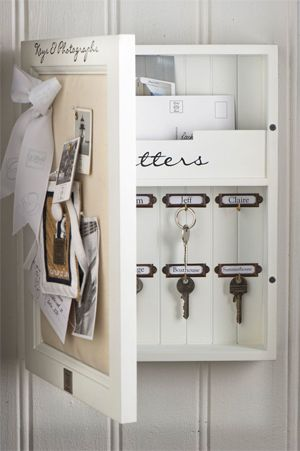 Box to keep keys. Front bulletin board closes to keep out of sight. Could do…