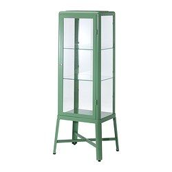 Oh my. I love this cabinet. It is so reminiscent of the antique doctors cabinets that are very expensive. Great price at 179. I need this for my bedroom to display all my unique pretties.FABRIKÖR Glass-door cabinet - light green - IKEA