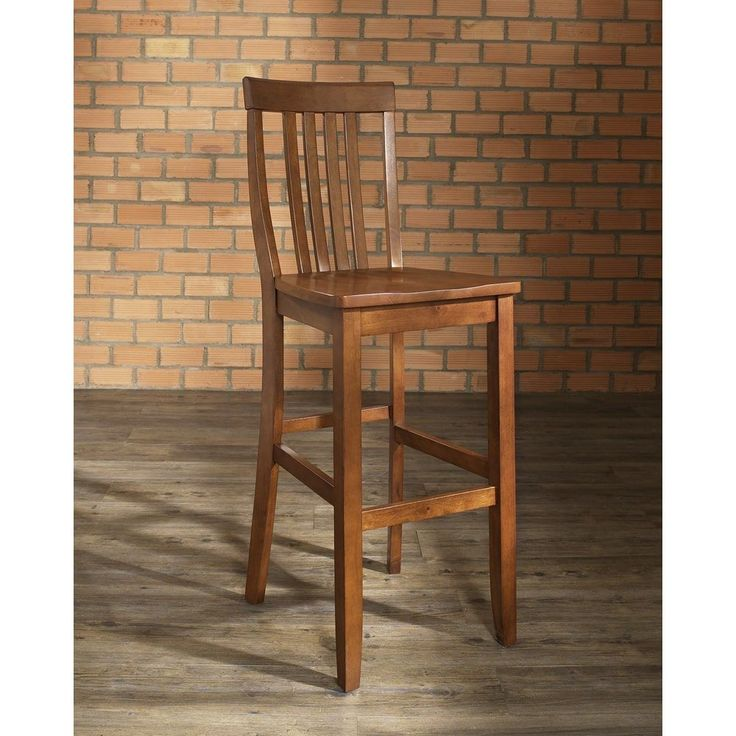 Crosley Furniture School House Bar Stool in Classic Cherry Finish with 30 Inch Seat Height.
