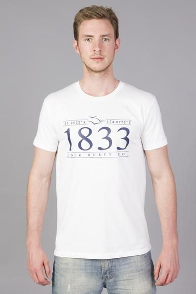 white short sleeve T-shirt with a navy print including the year 1833, the coordinates of Waitangi, three seagulls and Jack Dusty Co.