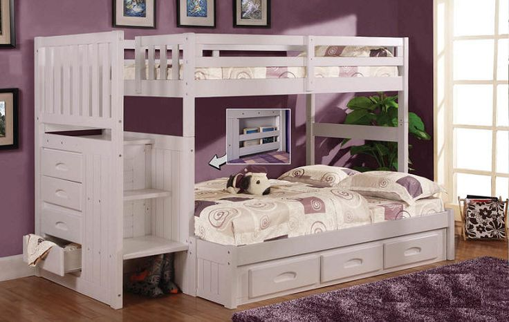 Impressive Twin Over Queen Bunk Bed With Stairs