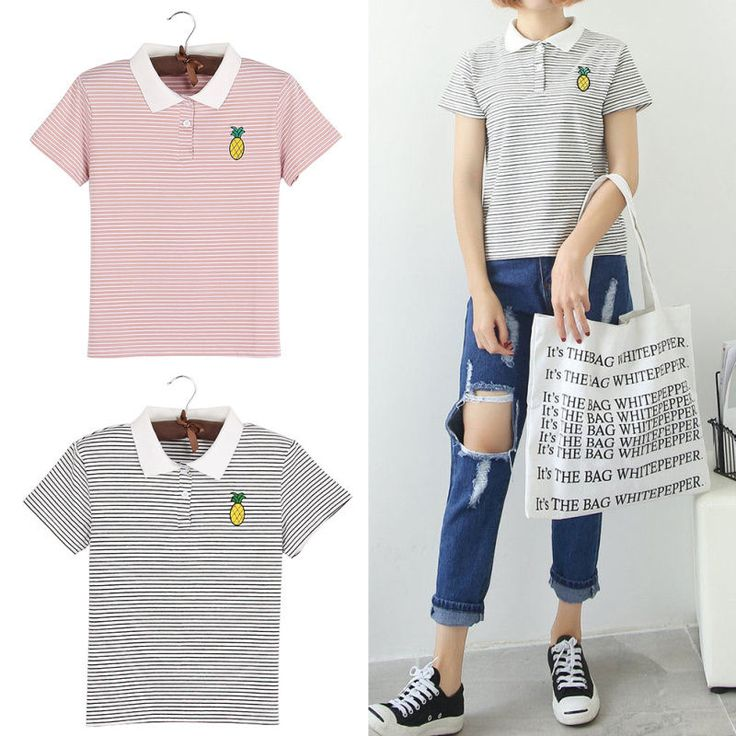 Pineapple Embroidery Striped Polo Shirt Women Preppy Style Tops Short Sleeve