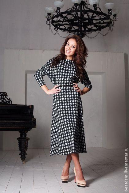 Платье гусиная лапка - чёрно-белый,гусиная лапка,платье миди,платье повседневное