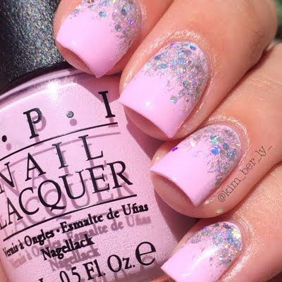 This pretty mani is created using a bright pastel pink nail polish shade accented with glitters. See the simple how-to tutorial for inspiration.