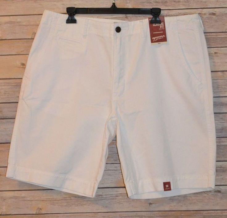 MENS KHAKI CHINO SHORTS COLOR: WHITE SIZE: 38 CLASSIC FIT HITS AT KNEE 5 POCKET #ArizonaJeans #KhakisChinos