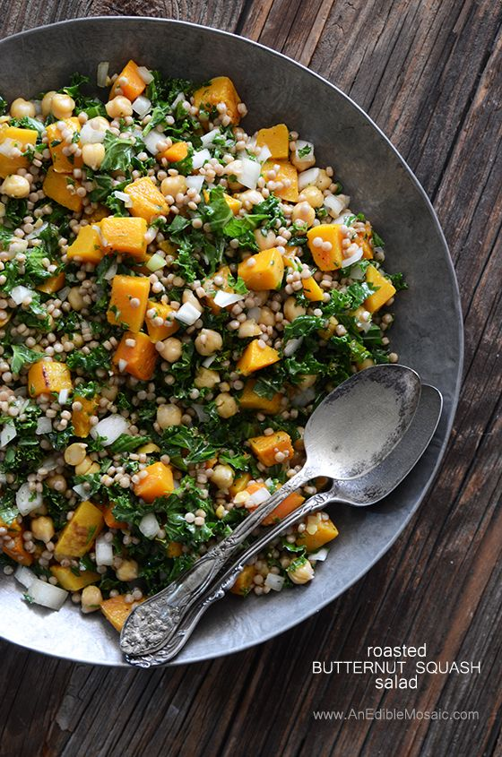 Roasted Butternut Squash Salad with Chickpeas, Kale, and Pearl Couscous Recipe #vegetarian