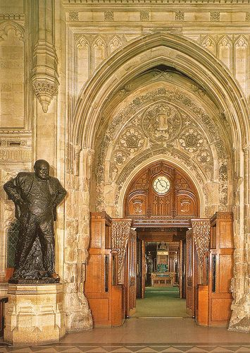 Member's Lobby and the entrance to the Chamber of the House of Commons with statue of former British Prime Minister Sir Winston Churchill which was unveiled on this day 1st December, 1969