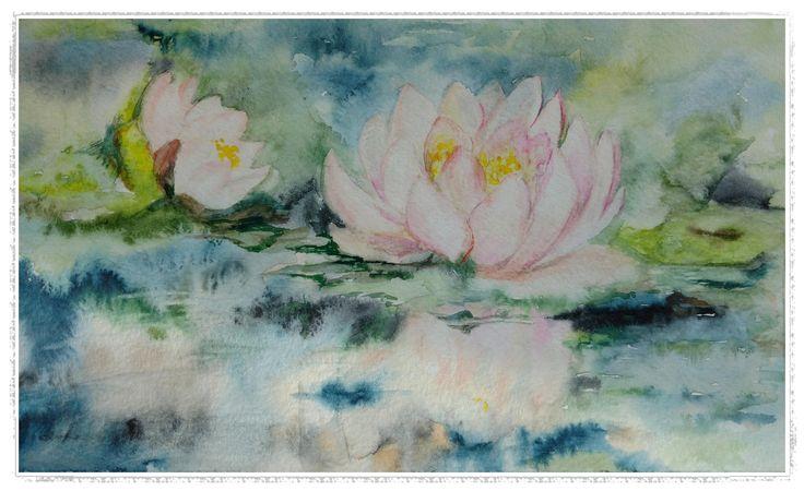 Printable art, watercolor by Tsvetilena Bochukova, digital print,wall decor, instant download, Water lilies, Flower print,Home decor