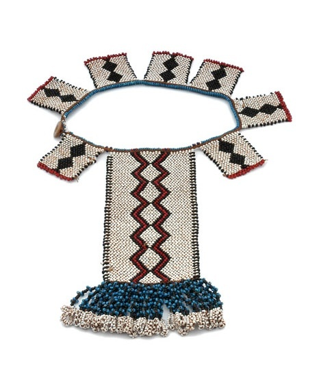 Africa | Necklace or pectoral from the Masitise region of Lesotho | 20th century | Glass beads, plastic and fiber