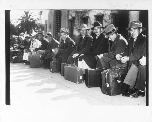 """Page 1 :: """"On Their Way Out! -- Above photo show group of Japanese rounded up by FBI agents at Santa Barbara and dejectedly sitting with their baggage, awaiting removal for hearings in Los Angeles.""""--caption on photograph :: Japanese American Relocation Digital Archive, 1941-1946. http://digitallibrary.usc.edu/cdm/ref/collection/p15799coll75/id/1488"""