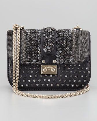 Valentino Glam Crystal-Covered Lock Crossbody Bag @Valentino