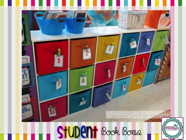 2nd Grade Shenanigans Blog:  Example of student book boxes