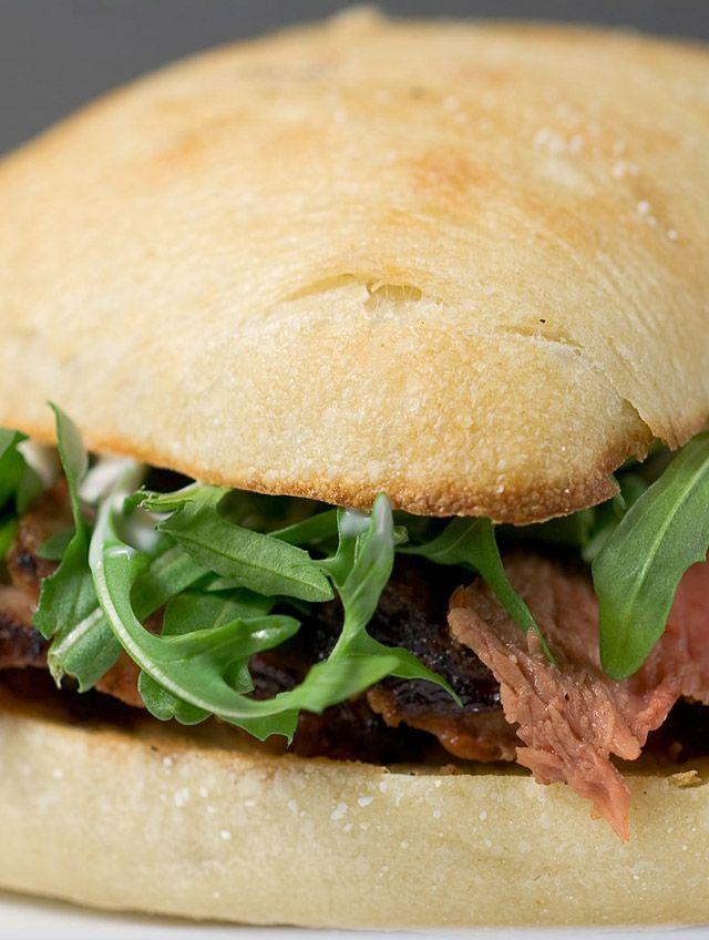 Grilled rib eye steak, fresh peppery arugula and a creamy caper sauce sandwiched between a toasted ciabatta roll.