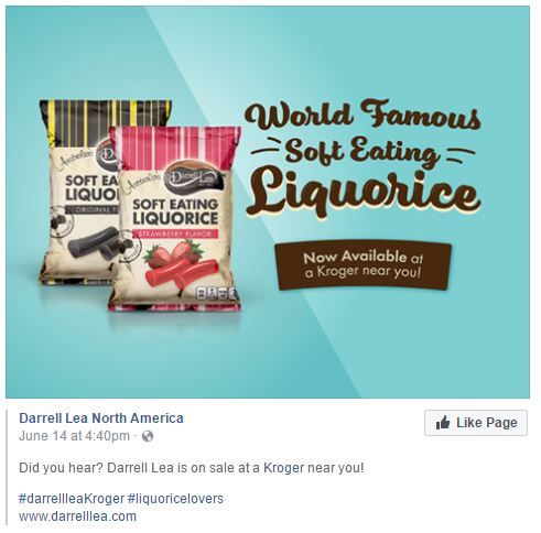 https://ifabrands.mavrck.co/s/heatherwilliamson6/action_ifabrands1497925834500742   Do you like liquorice? Do you like old fashion liquorice? Go to Kroger and get the world famous Darrell Lea North American soft eating Liquorice!