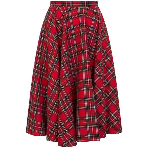 Shirley Tartan Full Circle Skirt ($80) ❤ liked on Polyvore featuring skirts, plaid circle skirt, tartan skirt, skater skirt, red flared skirt and mid length skirts