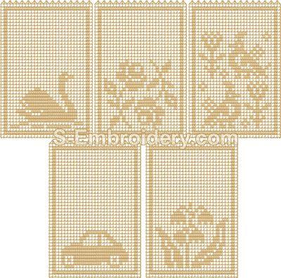 Freestanding lace crochet lavender sachet set