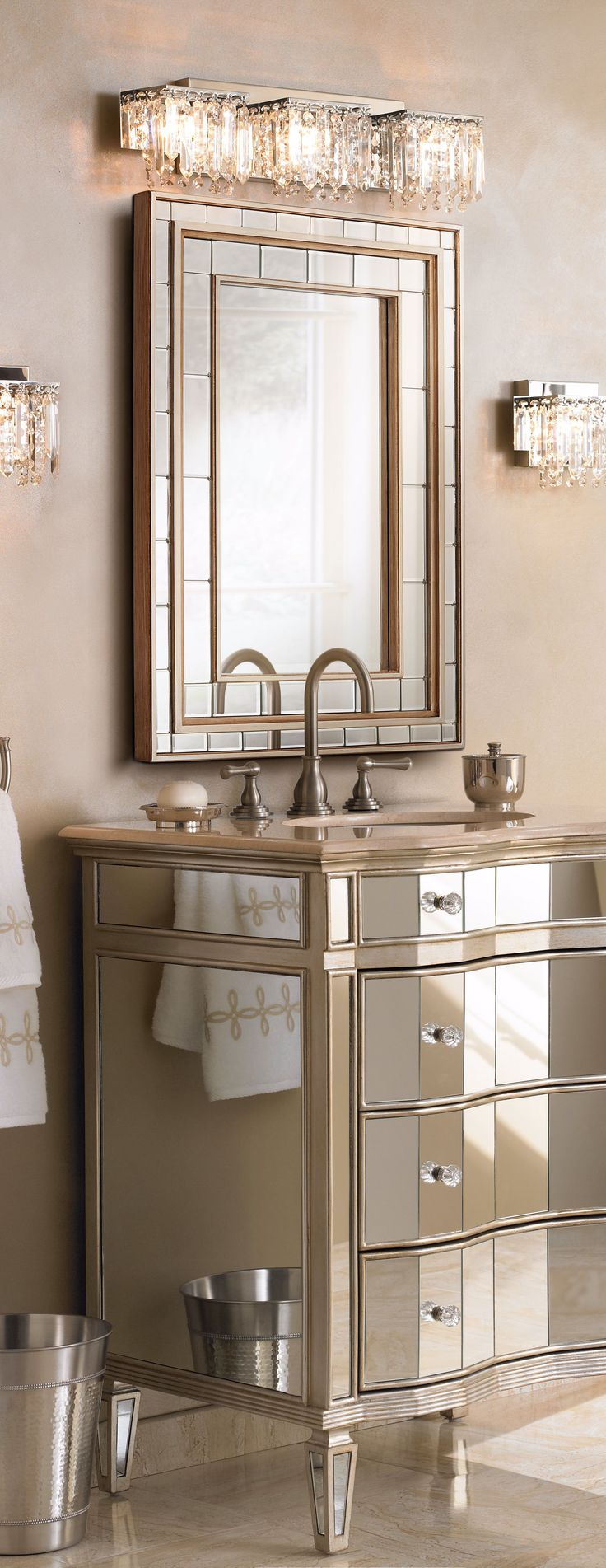 A Glamorous Bathroom With Plenty Of Mirrors And Mirrored Furniture.  Products: Possini Euro Design