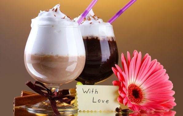 Wallpaper cocktails, cocktails, drinks, chocolate, foam tubes, note, with love wallpapers food - download