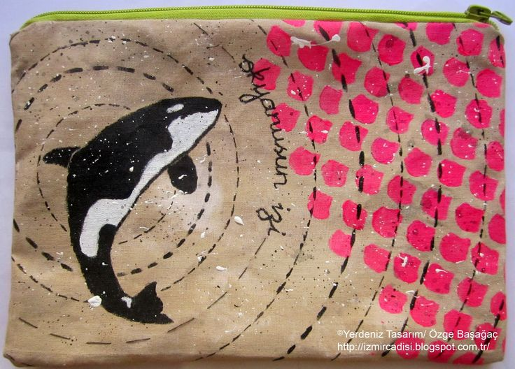 """trace of the ocean"" fabric handmade painted art bag/ ""okyanusun izi"" el yapımı boyalı kumaş sanat çanta"