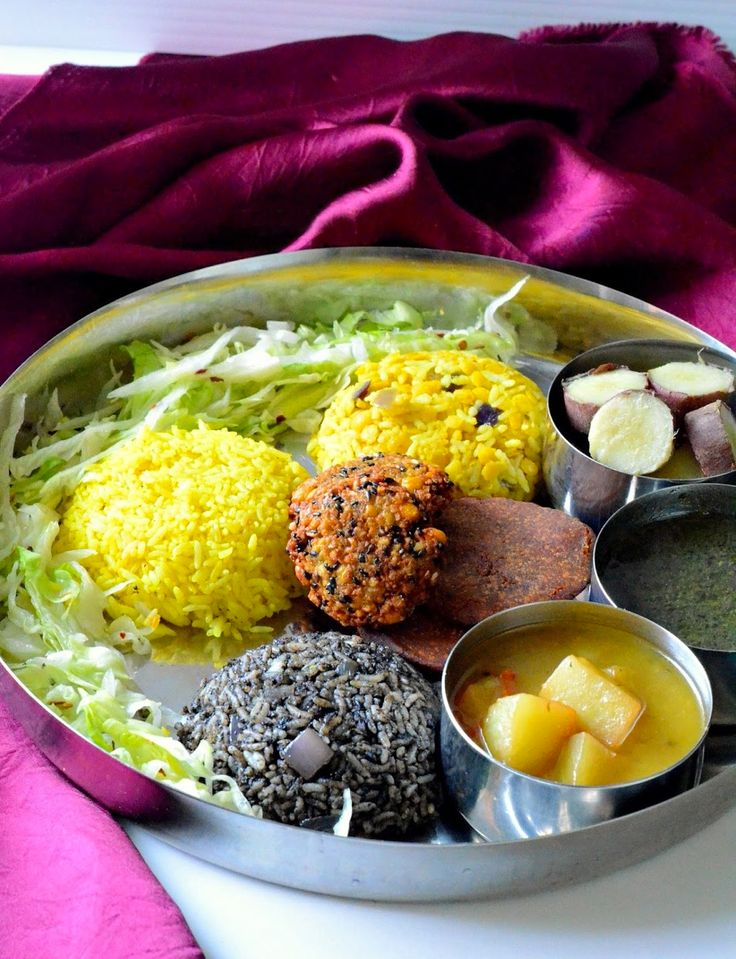 """10 'Thalis' From Around India That Will Take You To Food Heaven. People from Meghalaya like boiled veggies a lot as they are considered to be very healthy. Puklein is another delicious snack available all over Meghalaya. Black sesame is used in almost very dish. For example, the special dal, """"daineiiong"""" is incomplete without it."""