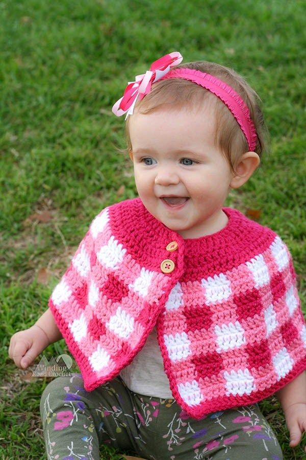 Crochet Plaid Cape with Baby and Girl Sizes | Crochet - Baby
