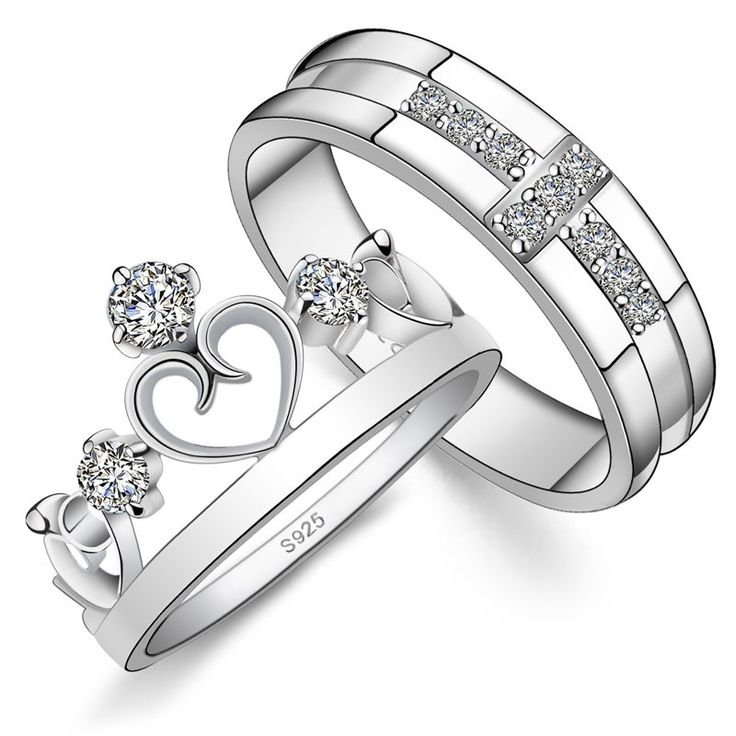 new fashion personalized cross with heart unique 925 sterling silver lover s heart couple ringshtml - Wedding Ring Sets Cheap