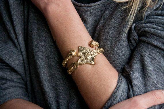 Massief gouden hand gesneden vintage stijl zware manchet