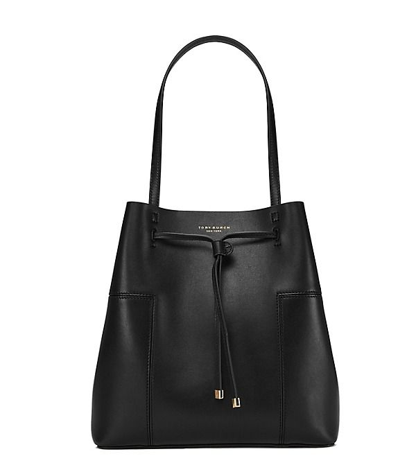 A study in luxurious minimalism: Unlined, resin-backed leather gives our new Block-T Drawstring Tote a raw-meets-refined feel. The of-the-moment shape has an interior pocket for small belongings and a