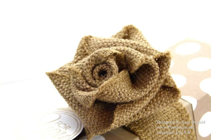 Stampin Up UK Ribbon Rose Tutorial.  Http://www.Pootles.co.uk Stampin' Up! UK Demonstrator Sam Donald shares a quick tutorial on how to make these beautiful ribbon roses. For this project's details, click here - http://wp.me/p3mF7W-nO.   Roses made from burlap, I love the way these look!