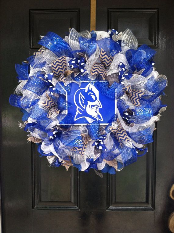 Large Mesh Wreath Duke University Blue by DesignTwentyNineSC, $78.00