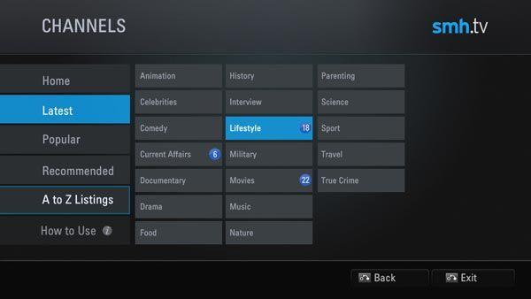 SMH.tv app interface