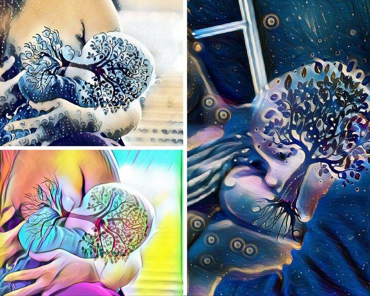 Tree Of Life, Motyw mamy karmiącej piersią, mleczna rzeka w formie drzewa życia, którego korzenie zaczynają się w piersi a korona kwitnie w dziecku dając mu moc i siłę. Teraz możesz stworzyć taką grafikę sama.