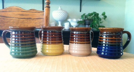 Set of 4 Vintage Ceramic Pottery Mugs by shop937 on Etsy, $22.00