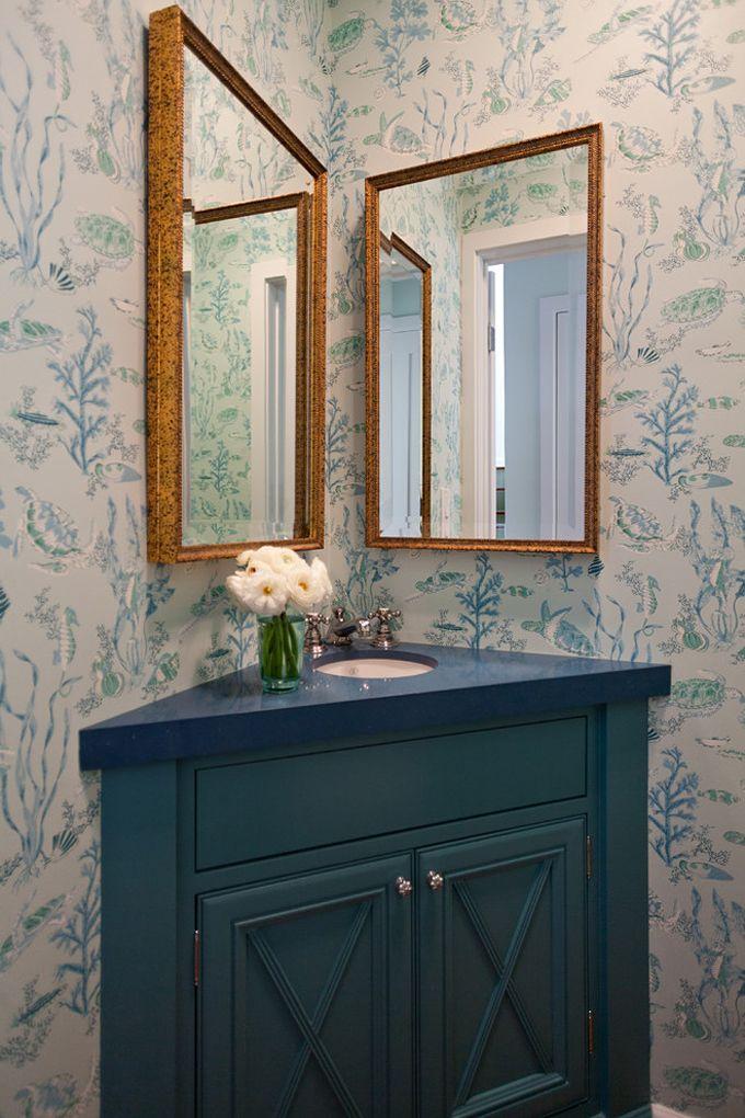 Coastal Wallpapered Powder Room | LLH Interiors