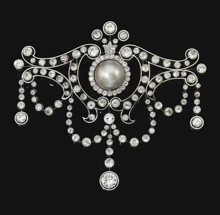 """Natural pearl and diamond """"devant de corsage"""" brooch, circa 1930"""