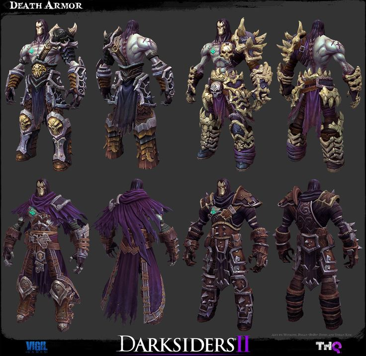 The Art of Darksiders II - Death and his different armor. Reference. Planning to combine the bottom left with crow armor.