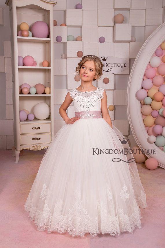 Ivory Flower Girl Dress Junior Bridesmaid by KingdomBoutiqueUA