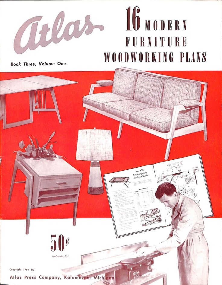 16 Modern Furniture Woodworking Plans By By Atlas Press Company (1954).  Designs By