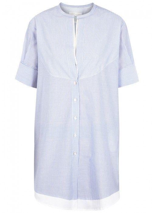 LILA.EUGENIE LILA. EUGÉNIE PINSTRIPED CROCHET-INSERT COTTON SHIRT DRESS. #lila.eugenie #cloth #