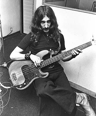Geezer butler of Black Sabbath and his fender precision bass in the studio