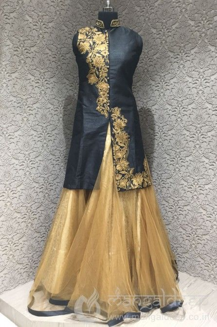 http://www.mangaldeep.co.in/lehengas/indo-western-lehengas/entic-black-gold-silk-net-readymade-partywear-indo-western-suit-6682 For more details contact us : +919377222211 (whatsapp available)