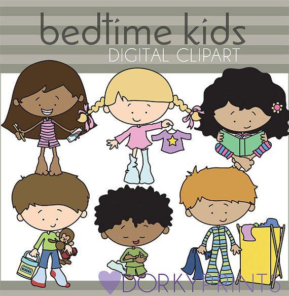 Hora de acostarse los niños Clip Art-Personal y limitado uso comercial - niños lindos en imágenes prediseñadas de pijamas