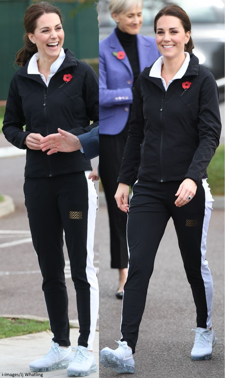 hrhduchesskate: Lawn Tennis Association (LTA) Visit, October 31, 2017-The Duchess of Cambridge wore a Montreal London track suit and new Nike Women's Air Vapormax Flyknit Running Shoes, and accessorized with her Kiki McDonough diamond stud earrings and a poppy