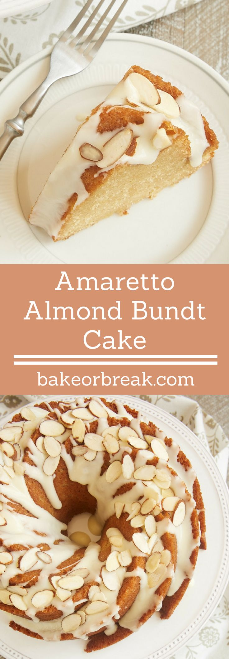 If you love almonds in a big way, you must try this fantastic Amaretto Almond Bundt Cake. Such a lovely, delicious cake! - Bake or Break ~ http://www.bakeorbreak.com