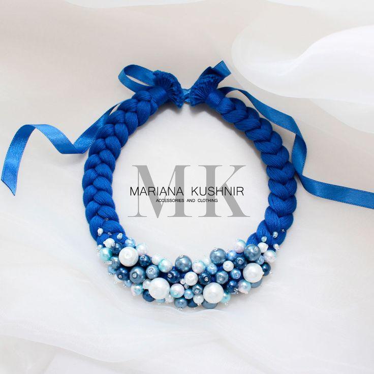Красота в деталях. Синее ожерелье коса c бусами.  Ожерелье коса насыщенного синего цвета украшена сляными и керамическими бусинами и чешским бисером. Ожерелье завязывается на двухстороннюю атласную ленту, с помощью которой можно регулировать длину ожерелья.  Ожерелье в одном экземпляре  Возможно исполнение в каком - либо цвете и размере по заказу.   https://vk.com/mariana_kushnir_aandc  https://www.facebook.com/MarianaKushnir.Designer  https://www.instagram.com/mariana_kushnir_a_and_c