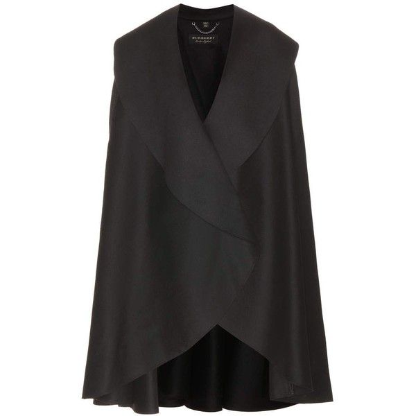Burberry Military Wool Cape (23,445 GTQ) ❤ liked on Polyvore featuring outerwear, black, military capes, wool capes, burberry, woolen cape and cape coat
