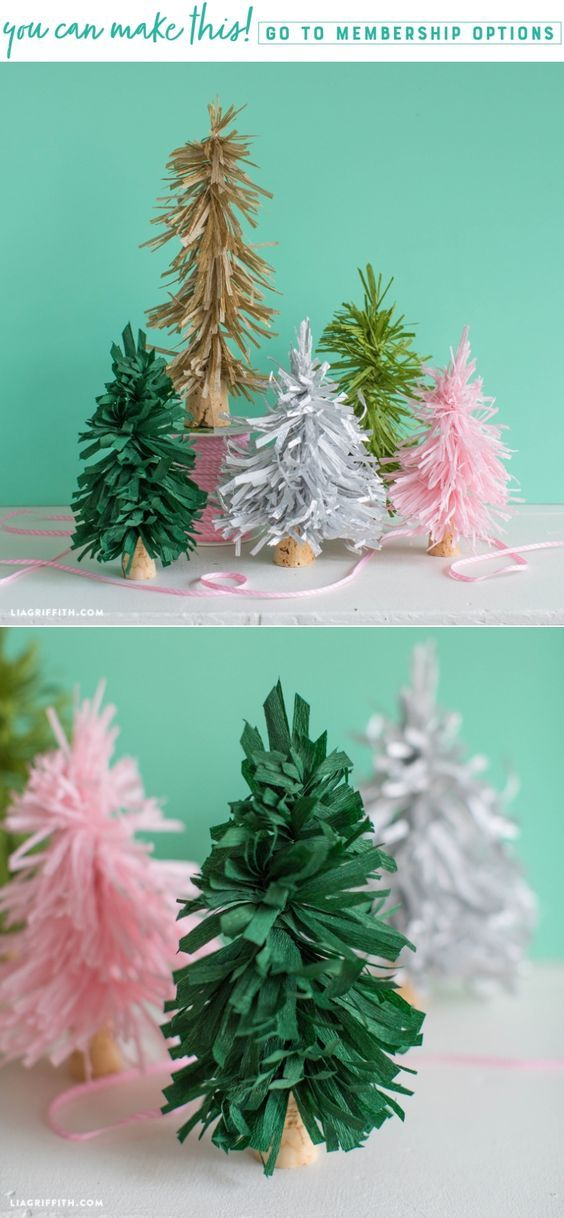 Fun and Easy DIY Bottle Brush Crepe Paper Trees - Lia Griffith - www.liagriffith.com #crepepaper #crepepaperrevival #paper #paperart #papercraft #diydecor #diyidea #diyprojects #diyinspiration #madewithlia
